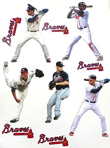 FATHEAD Atlanta Braves Mini Team Set 5 Players + 5 Braves Logo Official MLB Vinyl Wall Graphics - Each Player Graphic 7