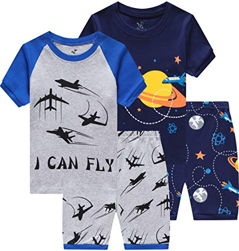 (CoralBee Pajamas for Boys Summer Kids Airplane and Space Short Pj Set Baby Clothes 4 Pieces Sleerwear 6t)