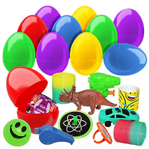 (The Twiddlers Large 50 Toy Filled Plastic Easter Egg Set - Easy Snap Hinged 2.7 Inches Eggs Ideal for Easter Theme Parties, Basket Fillers Stuffers, Egg Hunting Party Favors, Class-room)