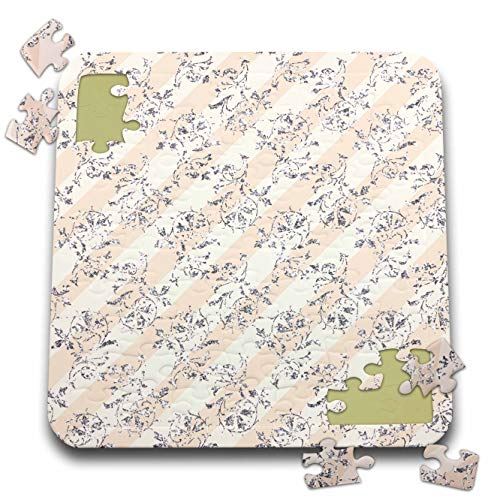 3dRose Anne Marie Baugh - Patterns - Pretty Image of Silver Glitter Flourish On Beige Stripes Pattern - 10x10 Inch Puzzle - Flourish Stripe