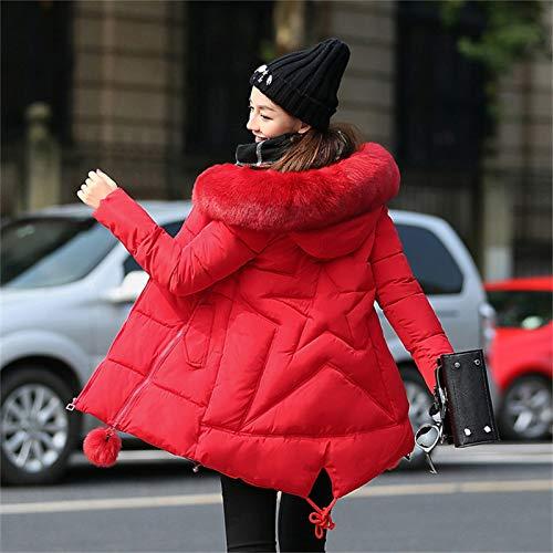 Hipster Capucha Imitación Piel Manga Ropa Invierno Con De Parkas Outdoor Elegantes Unicolor Larga Espesar Mujer Abrigo Chaqueta Acolchado Termica Rojo q67pzxw