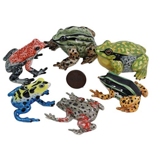 (6 Frog Ceramic Animal Miniature Pottery Figurine Hand Painted (2