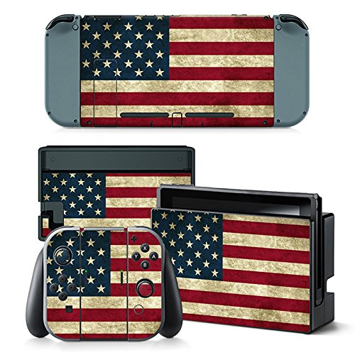 Gam3Gear Vinyl Decal Protective Skin Cover Sticker for Nintendo Switch Console & Controller - US Flag