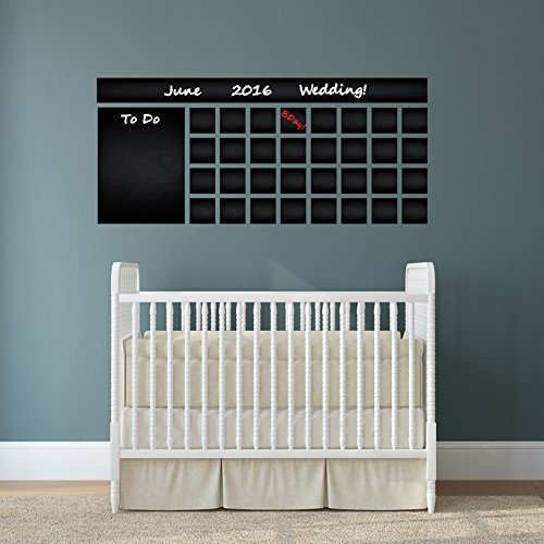 (( 63'' x 28'' ) Blackboard Vinyl Wall Decal Calendar with To Do List / Chalkboard Erasable Mural / Month Planner Sticker for Drawing + Free Crayons Box )
