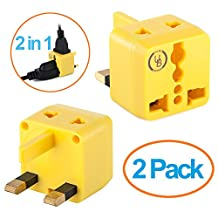 Yubi Power 2 in 1 Universal Travel Adapter with 2 Universal Outlets - Built in Surge Protector - Yellow 2 Pack - Type G for United Kingdom, England, Hong Kong, Ireland, Scotland, and more