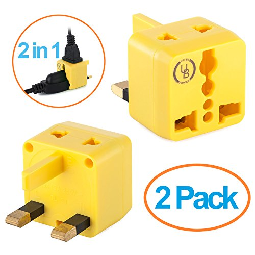 USA to UK Plug Adapter by Yubi Power 2 in 1 Universal Travel Adapter with 2 Universal Outlets - Yellow 2 Pack - Type G for United Kingdom, England, Hong - Outlet Malaysia Store