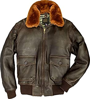 product image for Cockpit USA G-1 Goatskin Leather Flight Jacket with Nylon Lining and Removable Collar