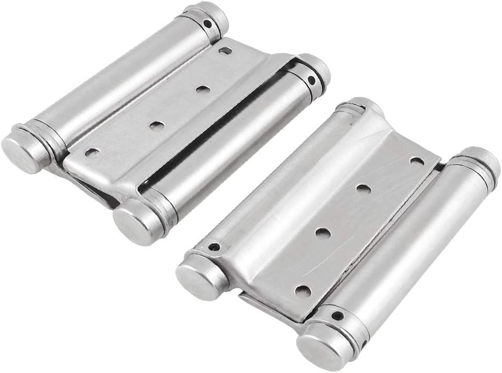 New Lon0167 2 Pcs Featured Silver Tone Double reliable efficacy Metal Door pipe tube Hinge Replacement 4.5 Long id:797 a5 a8 56f