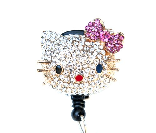 New Custom Bling Rhinestone 3D Hello Kitty Head w/ Pink Crystal Bow Badge Reel Retractable ID Badge Holder