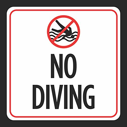 No Diving Sign - Notice Red White Black Swim Swimming Pool Safety Outdoor Signs Commercial - Aluminum - Single, 12x12 by iCandy Combat