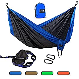 GEEZO Double Camping Hammock, Lightweight Portable Parachute (2 Tree Straps 16 LOOPS/10 FT Included) 500lbs Capacity…