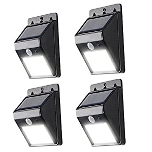 AMARS 4 Packs Waterproof Solar Powered LED Lights Outdoor Motion Sensor-Detector Activated Wall Light/Wireless Exterior Security Lighting For Patio, Garden, Home, Deck, Yard, Driveway, Stairs