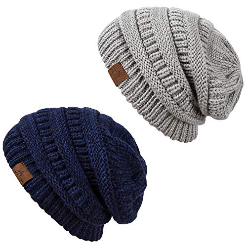 PAGE ONE Winter Warm Trendy Slouchy Chunky Knit Beanie Hat Women 2 Pack(Navy Denim+Grey) - Fully Lined Winter Hat