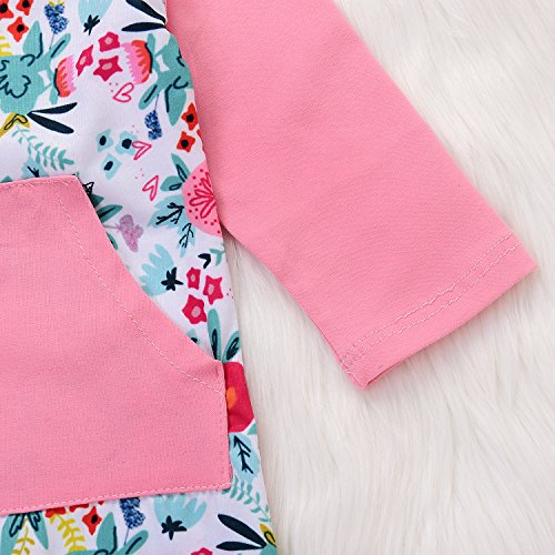 Fmizka Newborn Baby Boy Girls Floral Pocket Romper One-piece Long Sleeve Bodysuit Striped Jumpsuit Outfit