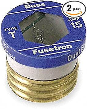 Bussmann T-7 7 Amp 125 Volt Type T Time-Delay Dual-Element Edison Base Plug Fuse