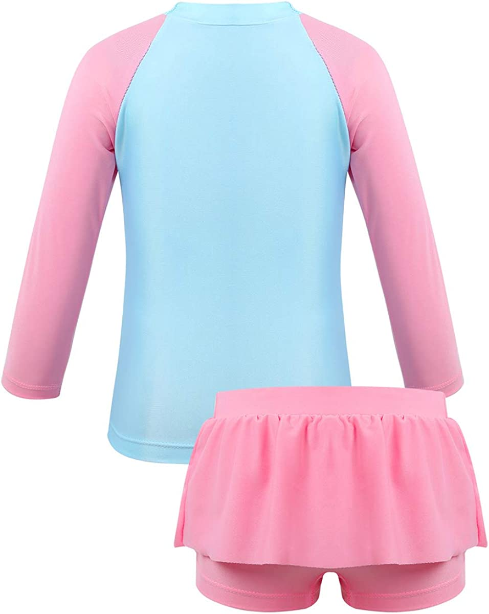 Kids Girls Rash Guard Long Sleeves Swimsuits Tops+Bottoms Set Beachwear Outfits
