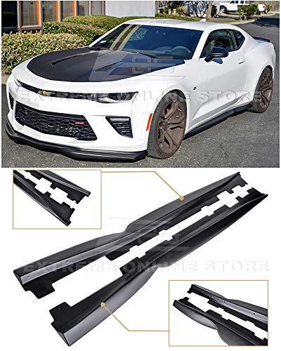 Replacement for 2016-2018 Chevrolet Camaro | EOS T6 Style Add-On Bottom Line Side Skirts Rocker Panel Extension Pair (ABS Plastic - Primer Black)