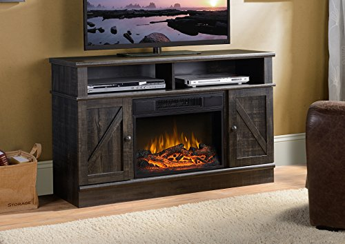 Homestar ZK1KERRY Kerry Collection Media Fireplace in Smoked Rough Sawn Oak