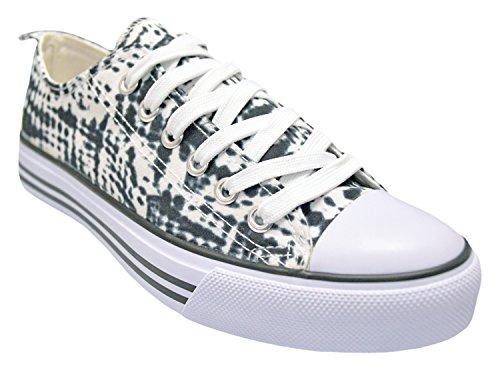 Shop Pretty Girl Damen Sneakers Casual Leinwand Schuhe Solid Farben Low Top Lace Up Flache Mode Schwarz / Weiß Tie Dye