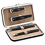 [Update Version] Patec Nail Clipper & Tweezers Set, High Precision Professional Stainless Steel Slant & Pointed Tweezers set and Toenail & Fingernail Clippers set of 4 pcs with Portable Leather Gift Case for Plucking Eyebrows and Trimming Nails-Travel Grooming Kit