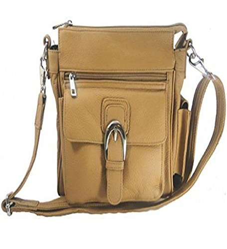 Leather Concealed Carry Cross Body Gun Purse Left or Right Hand W/ Holster Light Brown