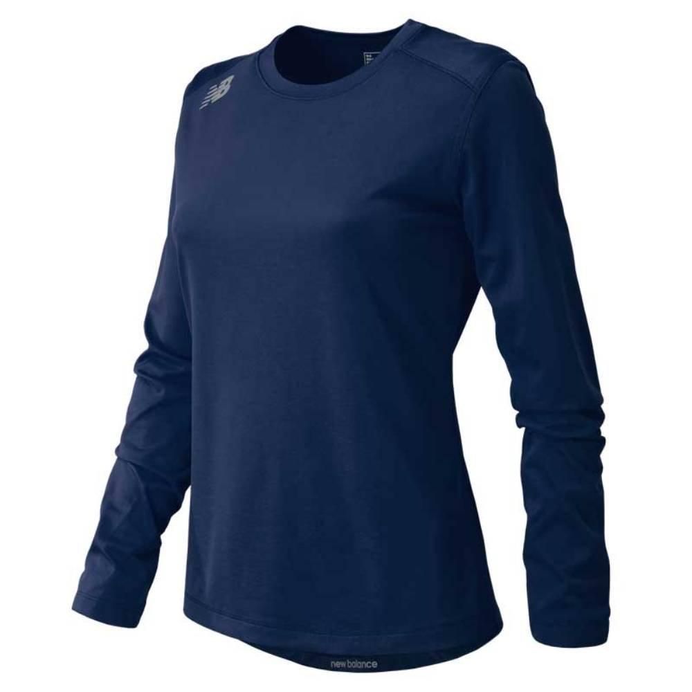 新しいバランスの女性の長袖ワークアウトテックTシャツ B01MU0DW8E Large|Team Navy Team Navy Large