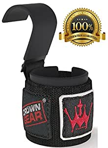 Power Weight Lifting Hooks - Best Weightlifting Strap Hooks for Gym Training Workout Like Deadlift & Shrugs - Ultimate Grips Powerlifting Hook with Cushioned Neoprene Wrist Straps - Comes in Pair