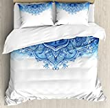 Moroccan Duvet Cover Set by Ambesonne, Floral Artwork Vintage Islamic Architectural Decorative Elements Oriental Pattern, 3 Piece Bedding Set with Pillow Shams, Queen / Full, Blue White