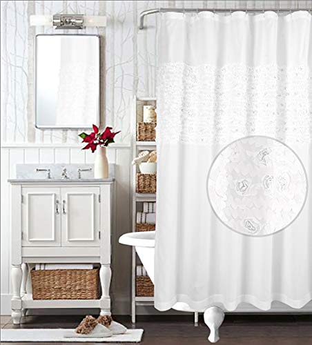 WestWeir Shower Curtain - Rose Clusters Embroider 72