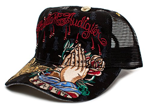 - Christian Audigier Faith One-size Unisex-adult Truckers Cap Hat Black/black
