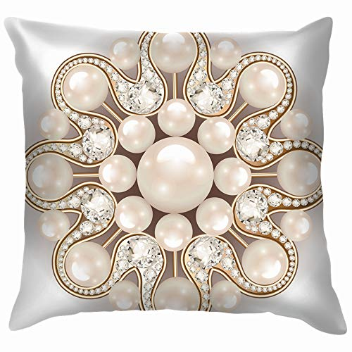 - Mandala Brooch Jewelry Design Element Pearl Beauty Fashion Cotton Linen Home Decorative Throw Pillow Case Cushion Cover for Sofa Couch 22X22 Inch