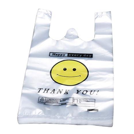 AchidistviQ - 50 Bolsas de plástico para la Compra, con asa, Transparente, para Chaleco, Caras sonrientes, Bolsa de plástico, Polietileno, 30x48cm