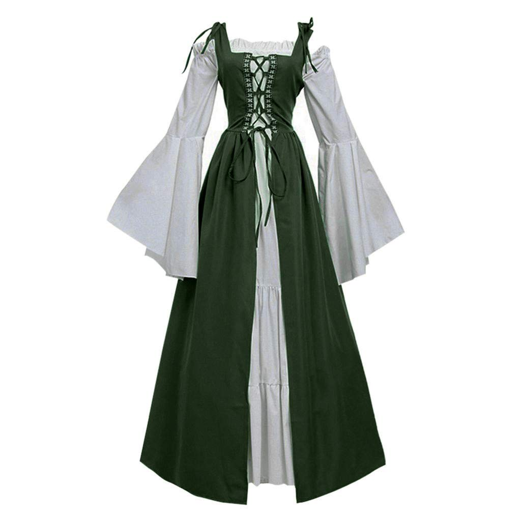 Womens Renaissance Medieval Irish Costume Over Dress and Cream Chemise Set for Cosplay - Plus Size