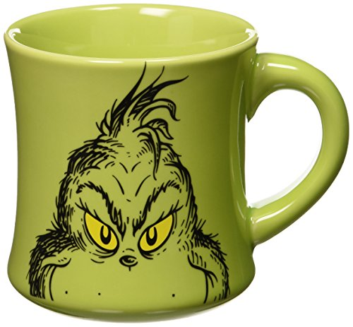 Dr. Seuss Grinch Holiday 12 oz Ceramic Mug, Green