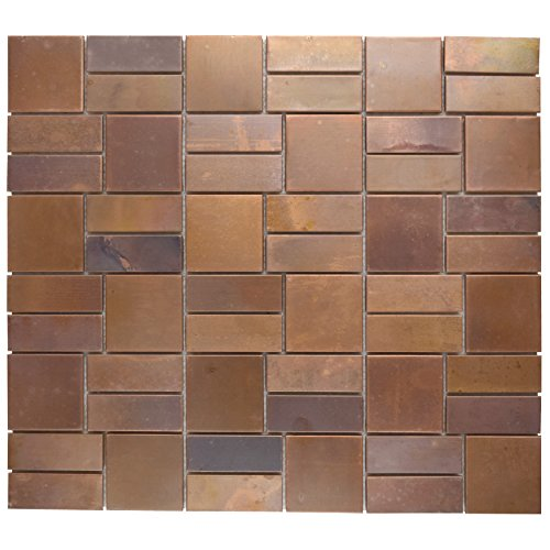 SomerTile MDXPBP Patine Copper Mosaic Wall Tile, 11.75