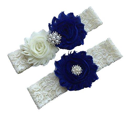 Daddasprincess Wedding Garter Ivory Bridal Lace Garter Set Something Blue Keepsake Toss Away Plus Size Belt Prom (L: 22-26 inches, Royal)