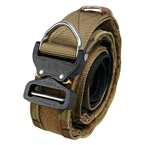 IDOGEAR Men Cobra Combat Belt Tactical Shooting Belt Military Airsoft Hunting Military Outdoor Gear (L, Coyote Brown)