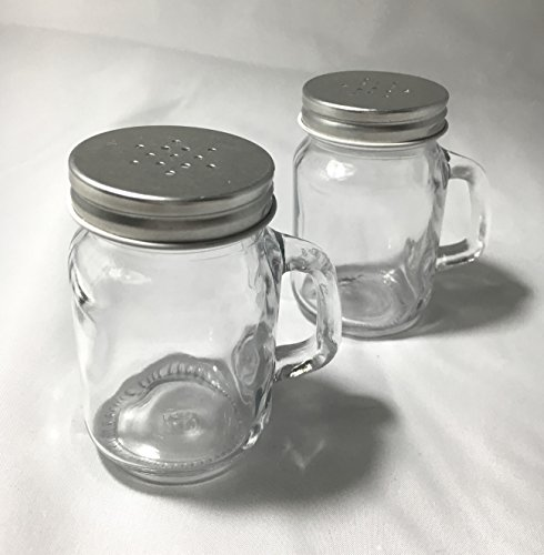 Glass Salt Pepper Seasoning Shaker Hipster Mason Jar With Lid 4 oz (pack of 2)