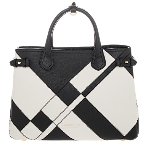 Burberry Women's Medium Banner in Leather and House Check Print Black + White