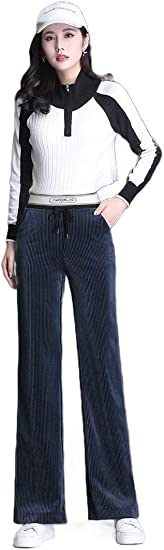 VITryst Womens Straight-Fit High Waist Velour Wide Leg Comfort Fit Pull-on Pants