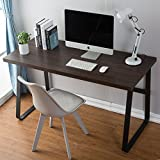 DecoMate Vintage Computer Desk, Wood and Metal Writing Desk, PC Laptop Home Office Study Table, Espresso 47 inch