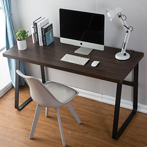 DYH Vintage Computer Desk, Wood and Metal Writing Desk, PC Laptop Home Office Study Table, Espresso 47 - Desk Finish Espresso Laptop