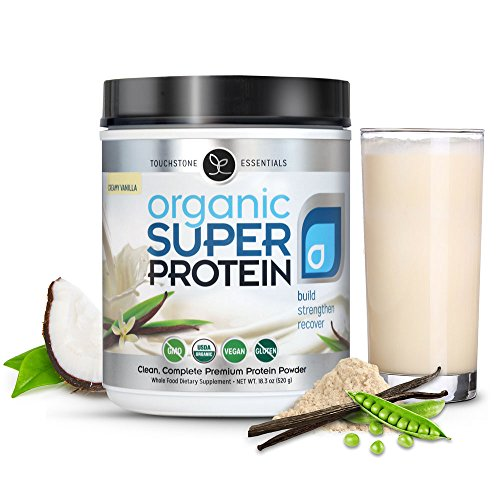 Organic Super Protein - Best Vegan Plant Based Protein Powder, Creamy Vanilla - Organic MCTs, Omegas, Digestive Enzymes & Superfoods (20 Servings)