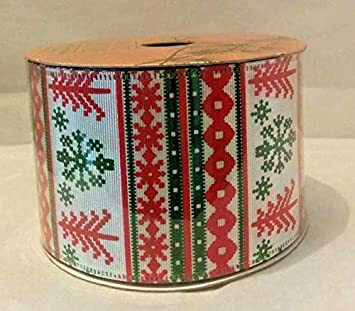white pine nordic christmas wired ribbon 25 in x 10 yards