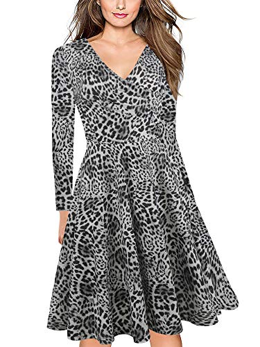 oxiuly Women's Vintage Classic Leopard Criss-Cross V-Neck Full Sleeve Floral Casual Work Party Tea A-Line Dress OX233 (XL, Leopard Grey 9) (Skirt Stretch Leopard)
