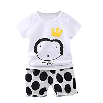 ee7543cebf4f Cyhulu Infant Baby Boys Girls Short Sleeve Cartoon Print T-shirt+Dot Shorts  2Pcs