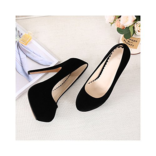 Round Pumps B Heel Slip 7 On Women's OCHENTA 5 US 39 Size Toe Stiletto M Black High EU Platform 5SXzZx