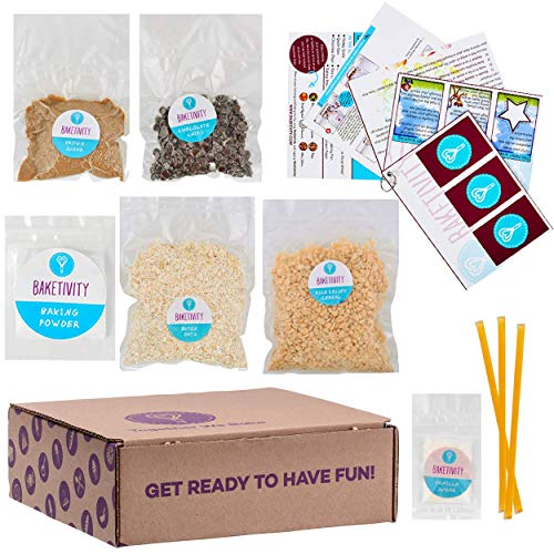 Baketivity Kids Baking Set, Meal Cooking Party Supply Kit for Teens, Real Fun Little Junior Chef Essential Kitchen Lessons, Includes Pre-Measured Ingredients, Granola Bars (Baking Cookie Kit)