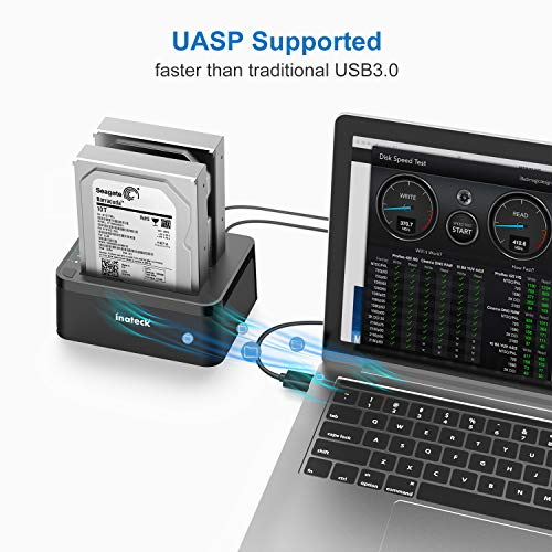 Inateck USB 3.0 to SATA Dual-Bay USB 3.0 Hard Drive Docking Station with Offline Clone Function for 2.5''/3.5'' HDD SSD SATA (SATA I/II/III), Support 2 x 8TB and UASP, Black (FD2002) by Inateck (Image #4)