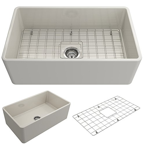 - BOCCHI 1138-014-0120 Classico Apron Front Fireclay 30 in. Single Bowl Kitchen Sink with Protective Bottom Grid and Strainer in Biscuit,